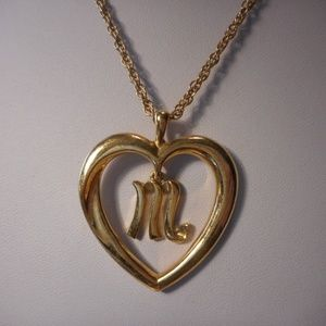 Avon Gold Tone Initial M Heart Necklace